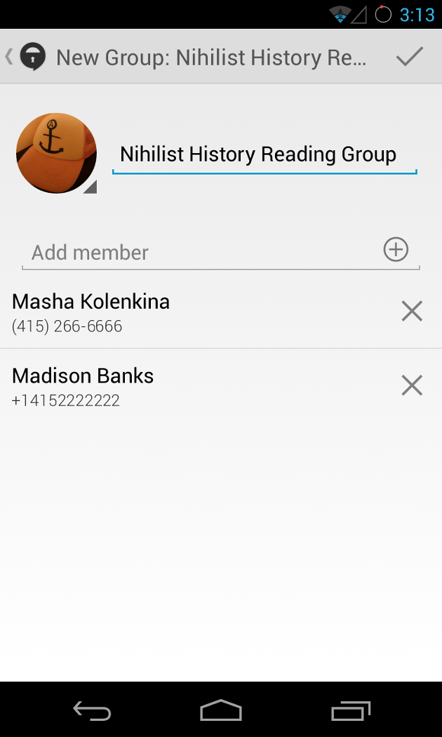 Screenshot of group creation user interface in TextSecure