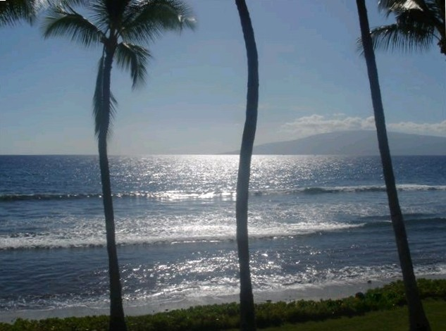 View of the beach at Puamana, island of Maui.