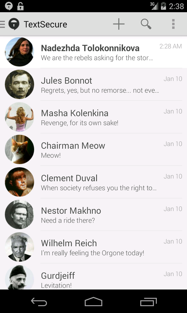 Screenshot of redesigned TextSecure conversation list